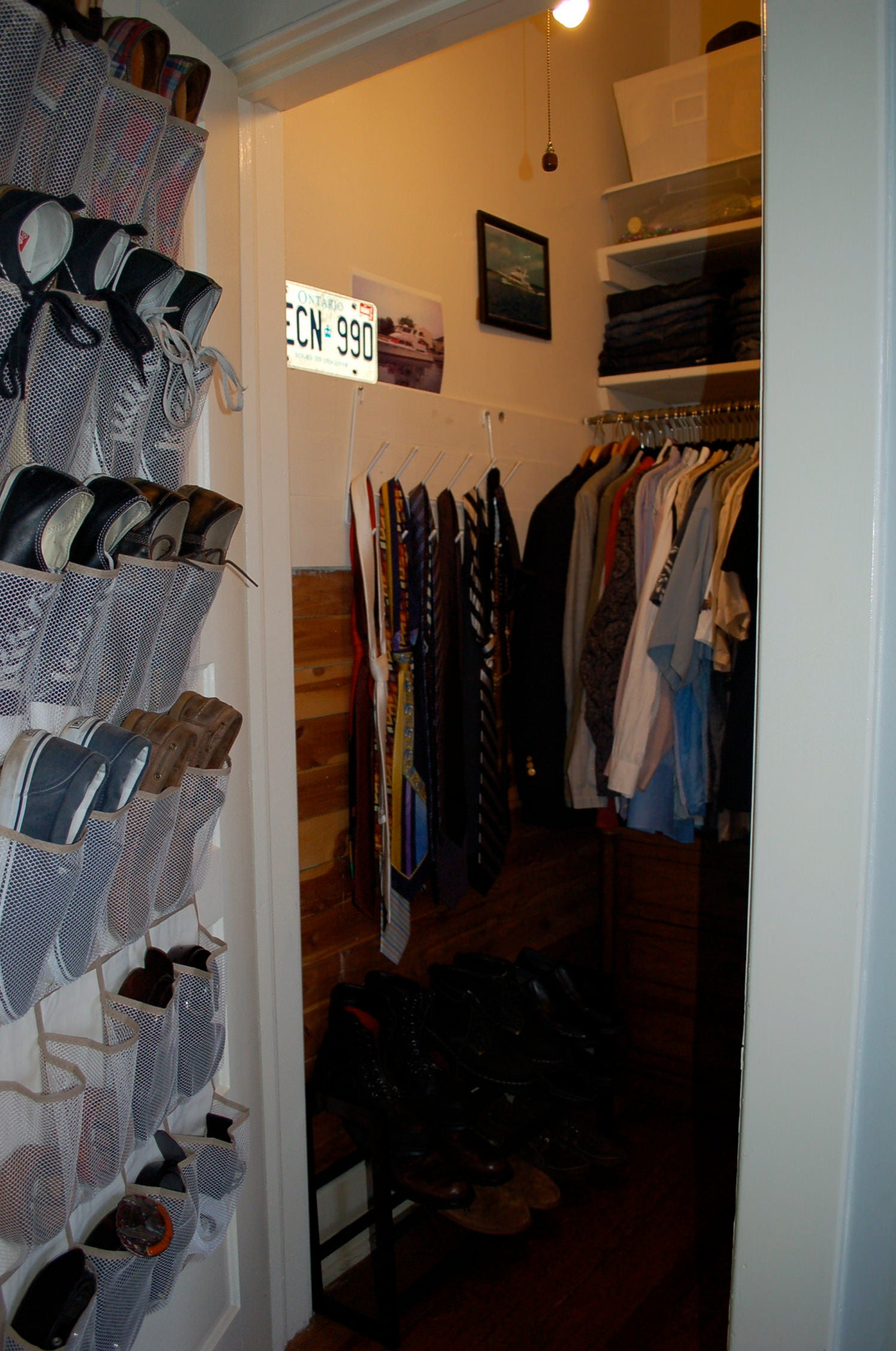 organized closet, shoe rack, matching hangers