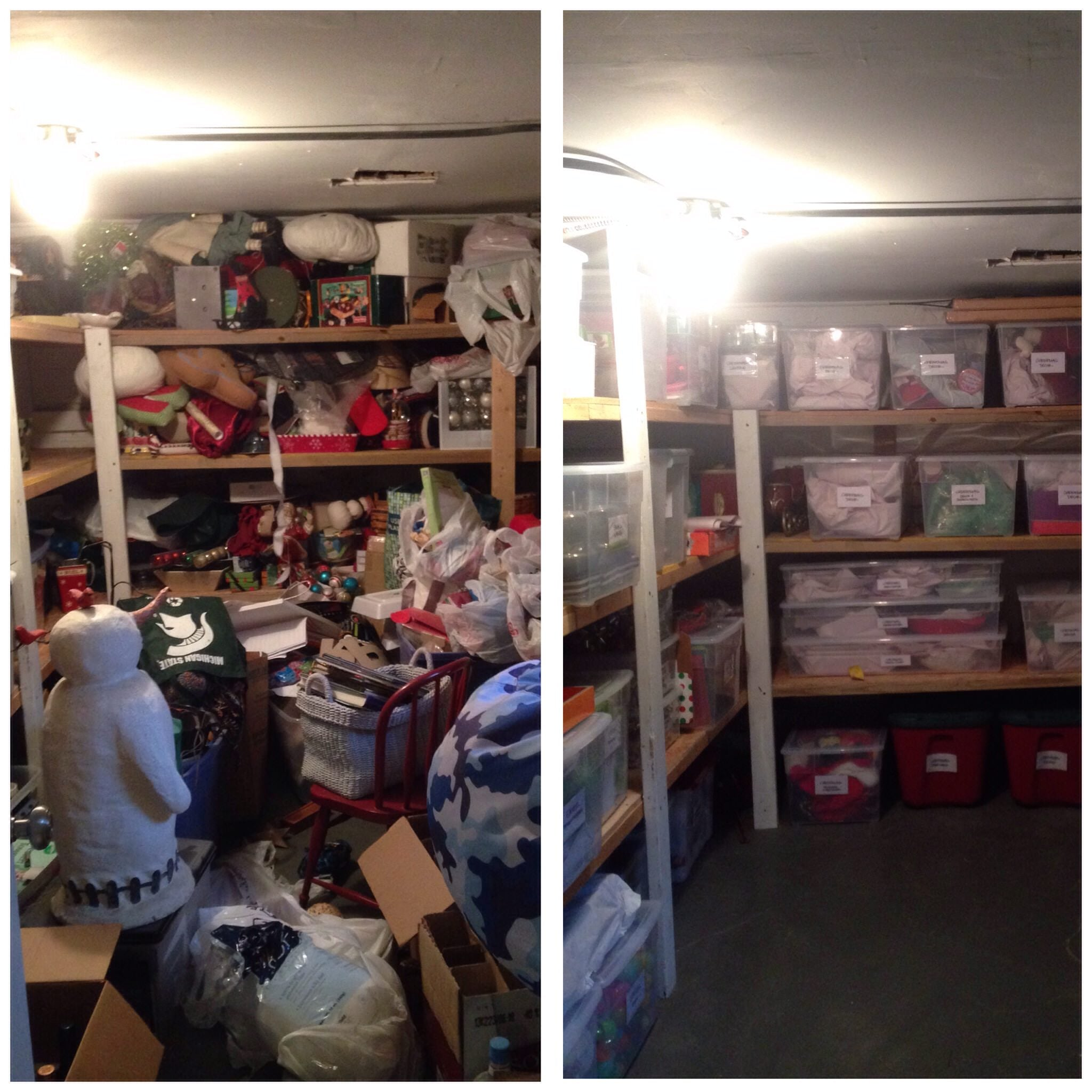 Brooke Ruder, Ashley Murphy, plastic bins, storage unit, before and after, organized space, organized home, home organizer, professional organizer,