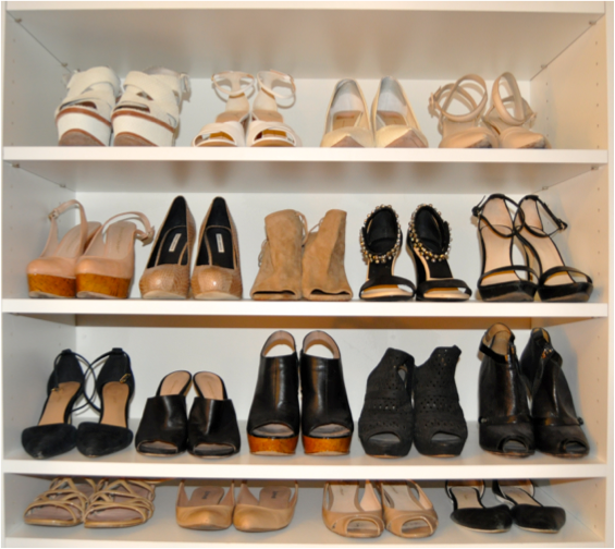 organized shoes, shoe racks, sandals, heels, dream closet, wedges, master closet, color coding, Chicago, Brooke Ruder, Ashley Murphy