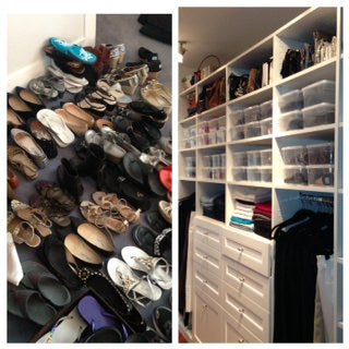 shoe organization, the container store, shoe addiction, pile of shoes