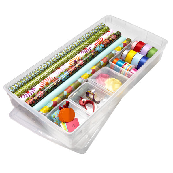 wrapping paper, clear bin, organizing,