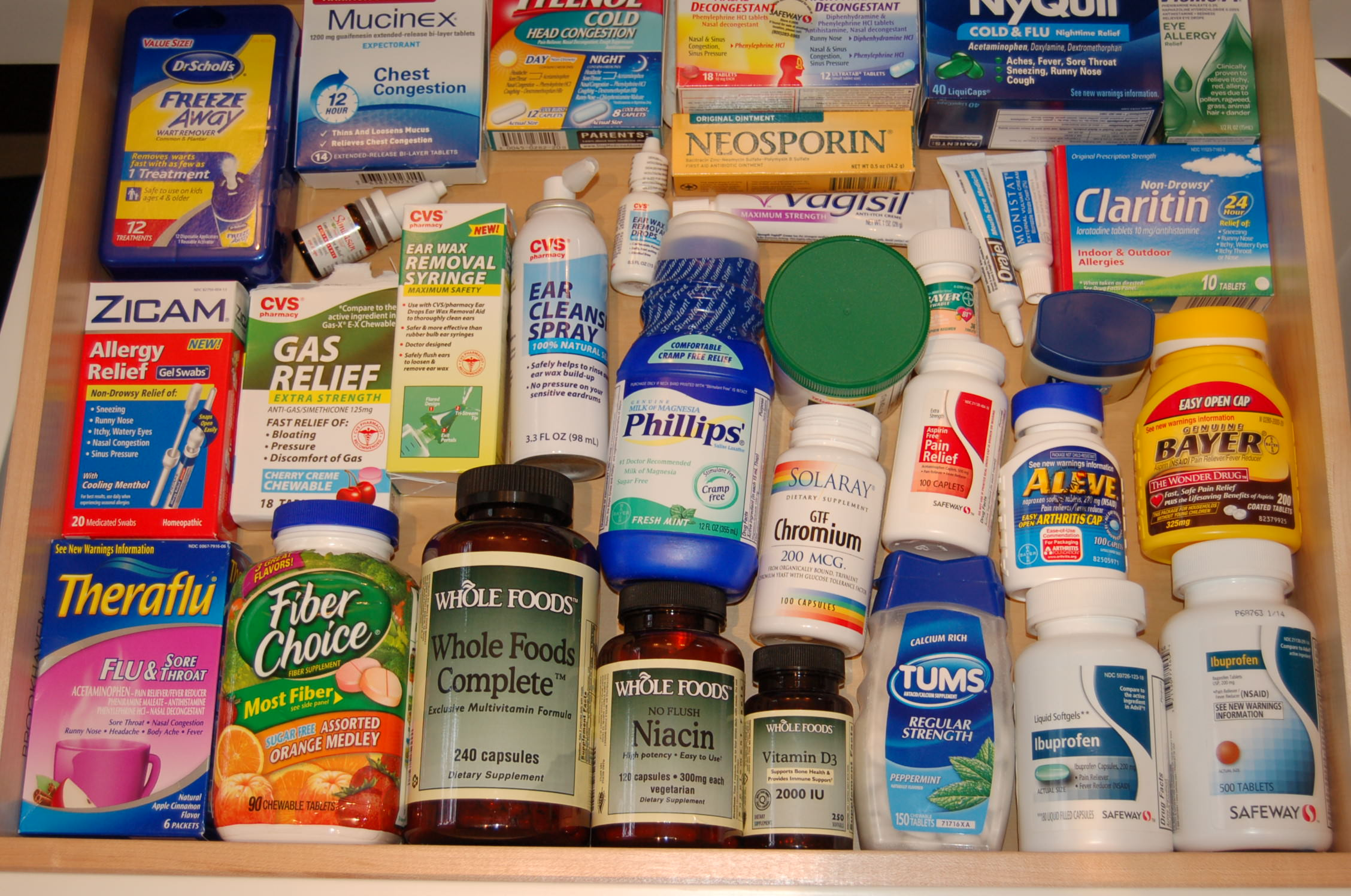 Medicine Drawer, Flu, Vitamins, Organized, NEAT Method