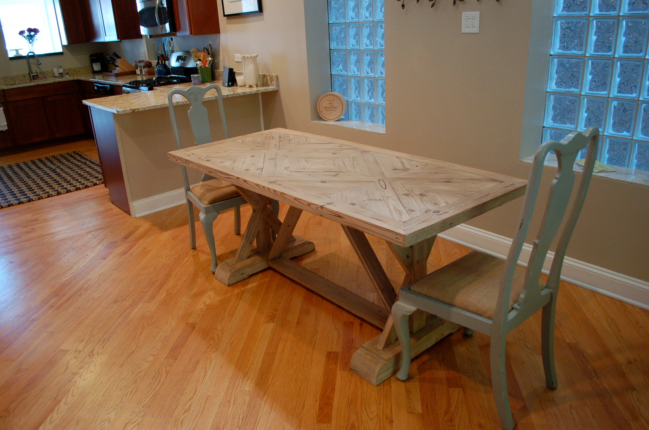 wooden table, modern dining room, hardwood floors, shabby chic chairs