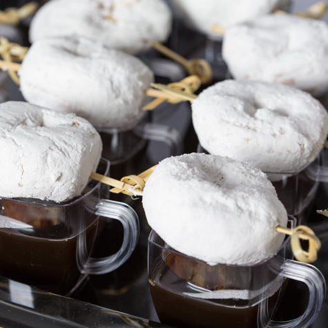doughnut espresso shots, donut espresso shots, tailgate recipes, football recipes, coffee and donut recipe, coffee and doughnuts, coffee and donuts, doughnuts, donuts, powdered donuts, mini powdered donuts, mini espresso shots