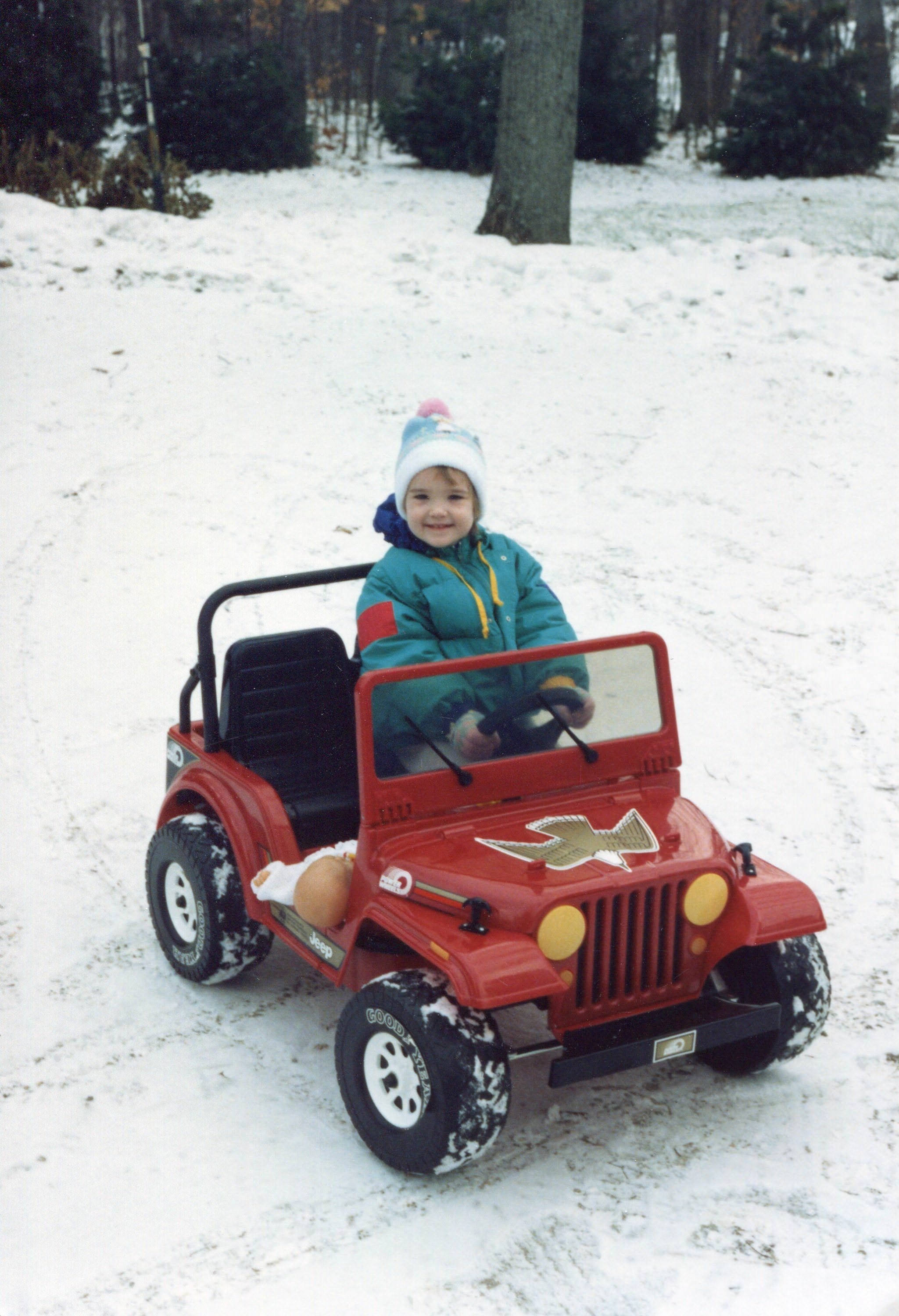 power wheels, snow, winter, Indiana, Heather Byrne, Red Jeep, Snow clothes, 90's child, Cold day