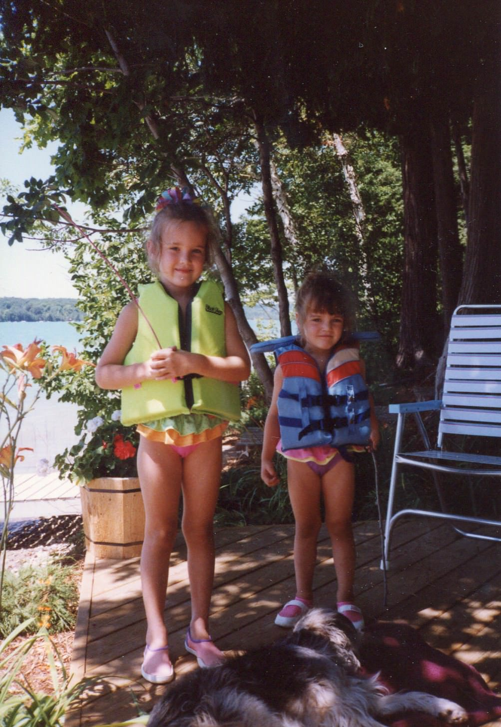 water skiing, 90's, Walloon Lake, Walloon, Michigan, girls, Boat Coats, Life Vests, Neon Jackets