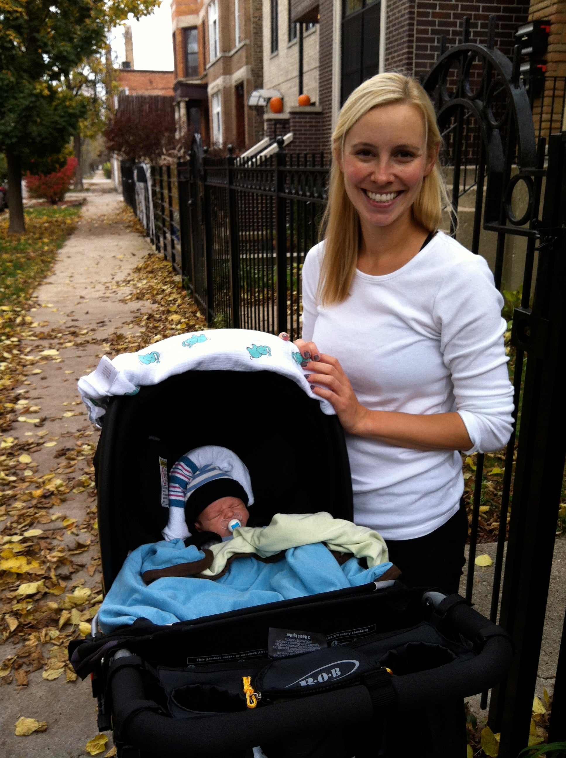 Mom and Baby, Baby in stroller, Fall day
