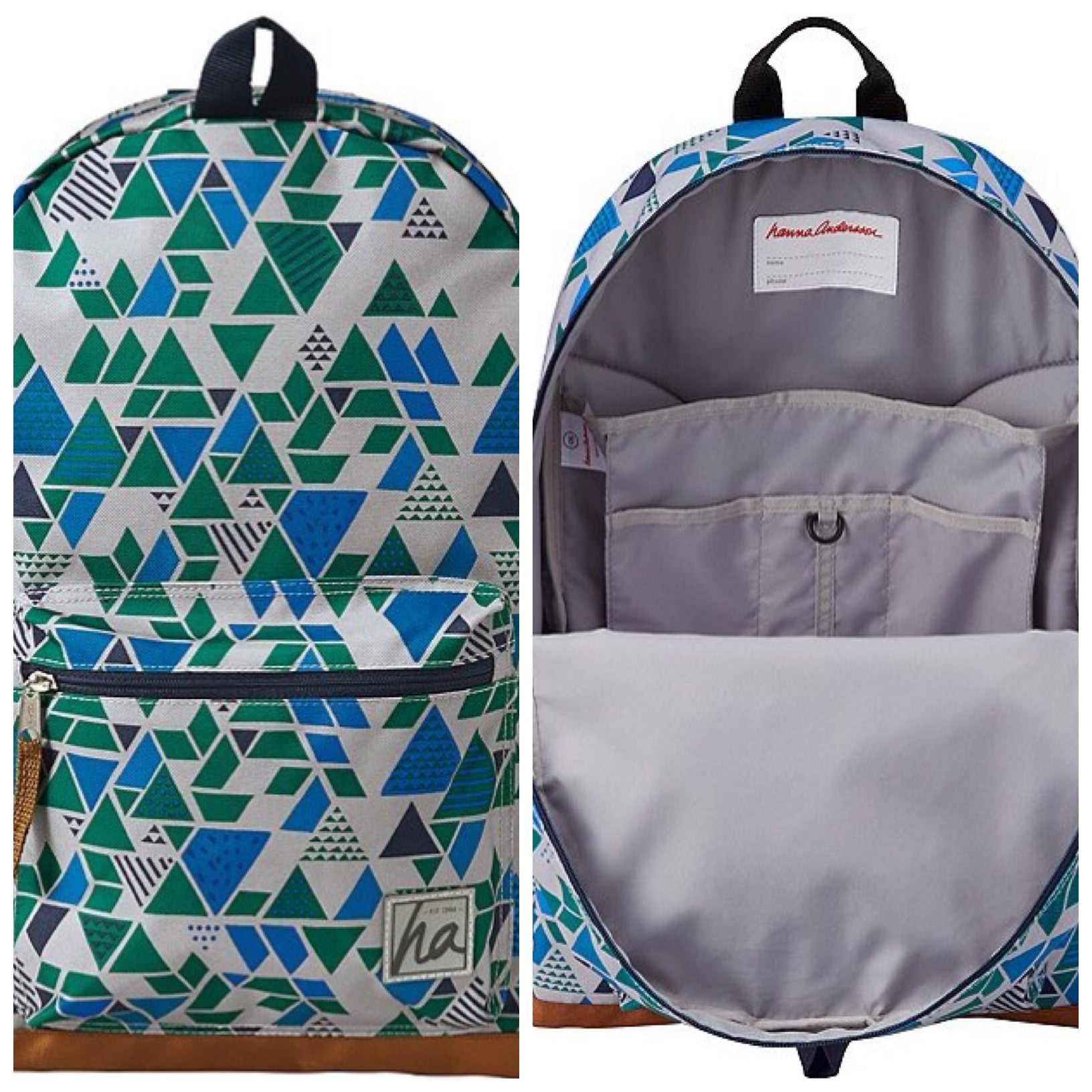 Hanna Andersson, backpack, kids backpack, geometric backpack, green blue gray backpack, backpack with pockets, boys backpack, unisex backpack, back to school, school prep