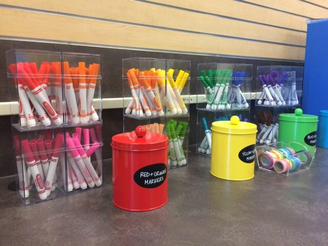 craft rooms, organized arts and crafts, crayola, colors