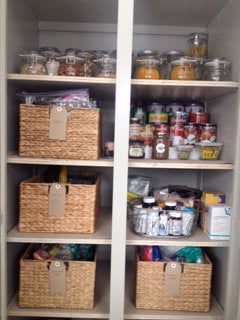 pantry organizing, hyancinth baskets, the container store, organized pantry