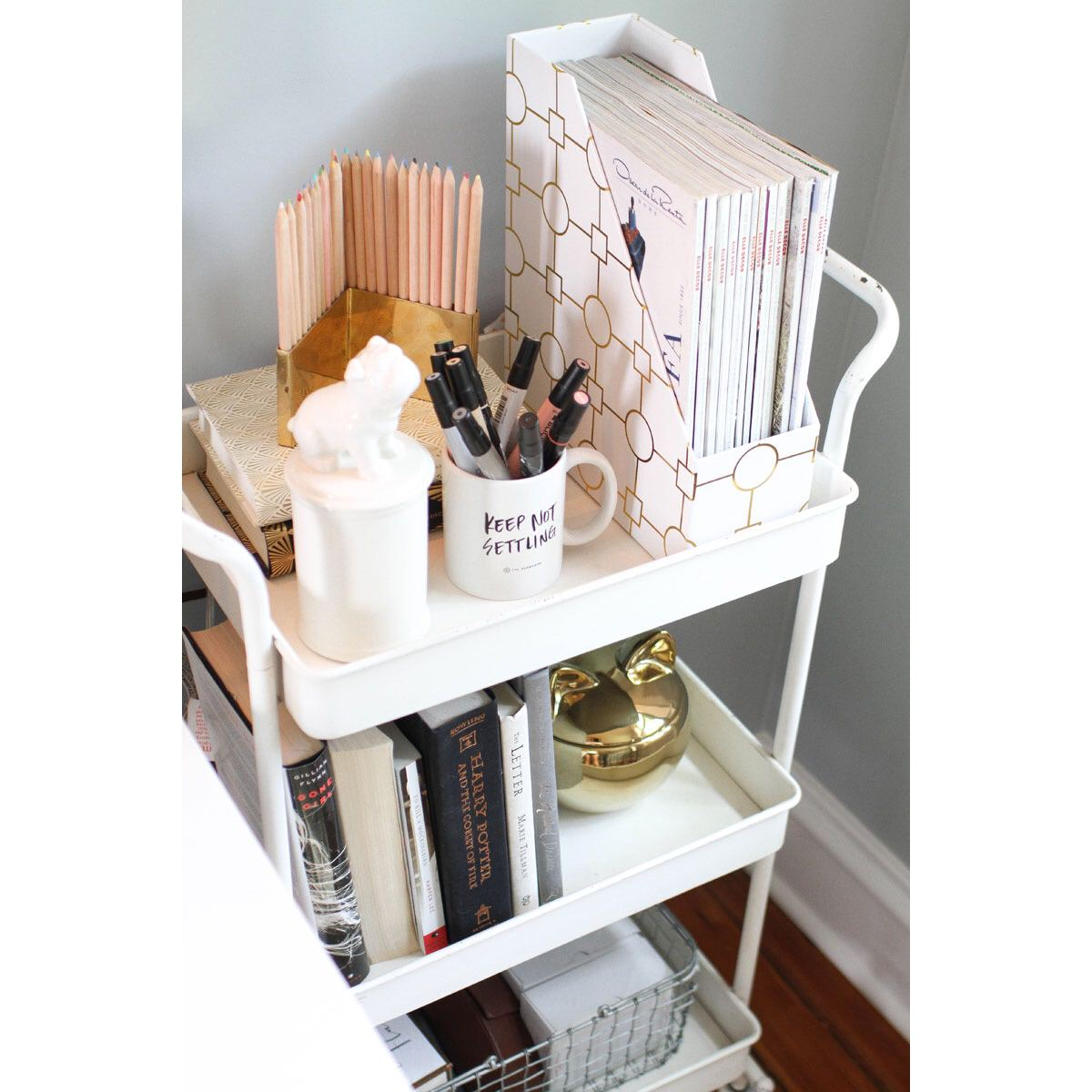 desk, organized desk, organized space, bar cart, diy office, pencil cup, organizing, professional organizer, NEAT,