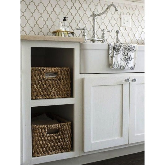 Kitchen, sink, backsplash, organized space, organizing, home organization, professional organizer, baskets,