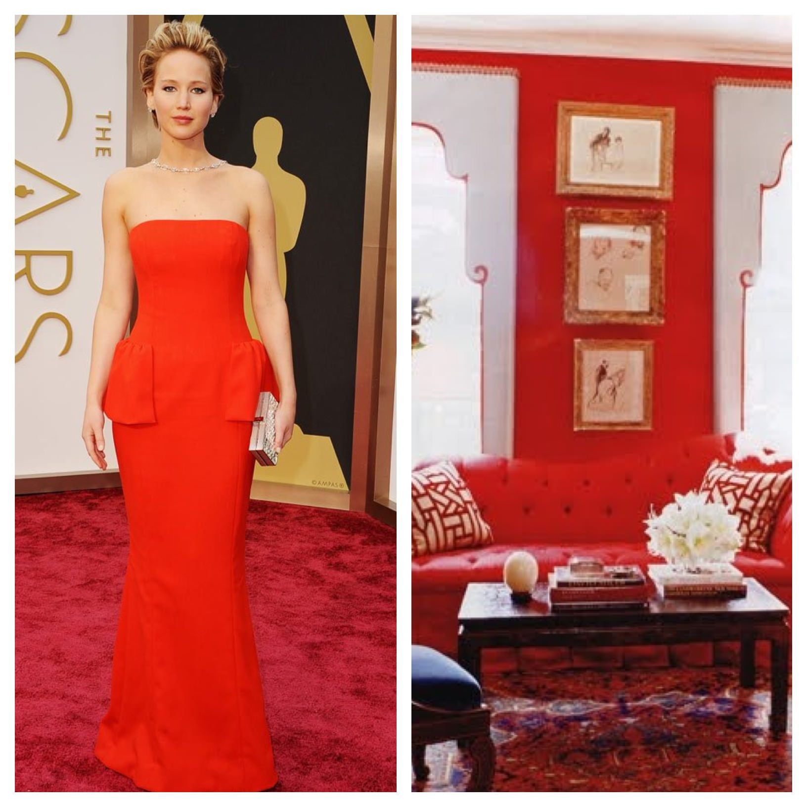 jennifer lawrence, jennifer lawrence fashion, jennifer lawrence oscar dress 2014, red rooms, organized space, beautiful red room