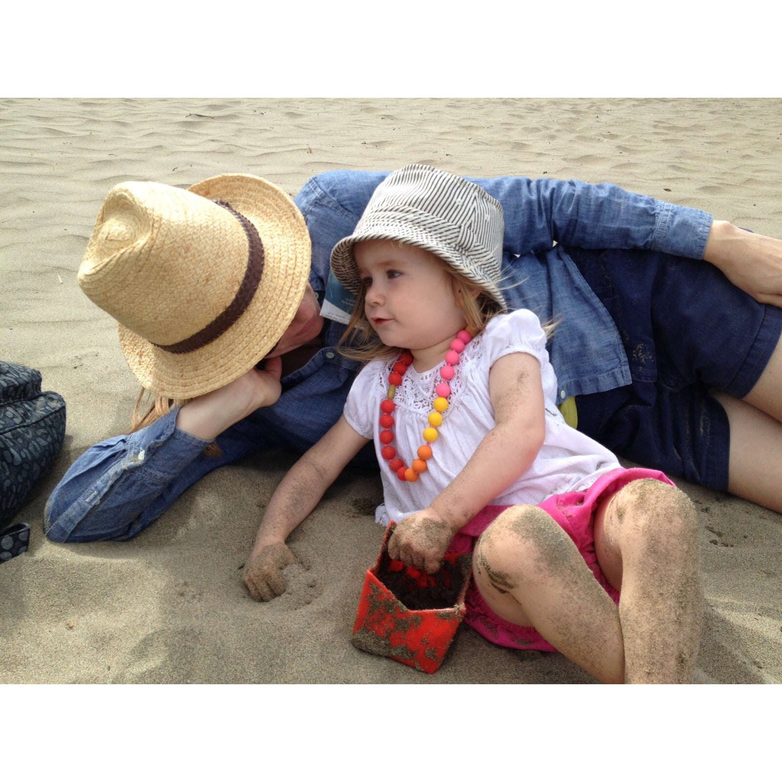 beach, beach activities, hats, little girl, mother daughter, daughter, mother, san francisco