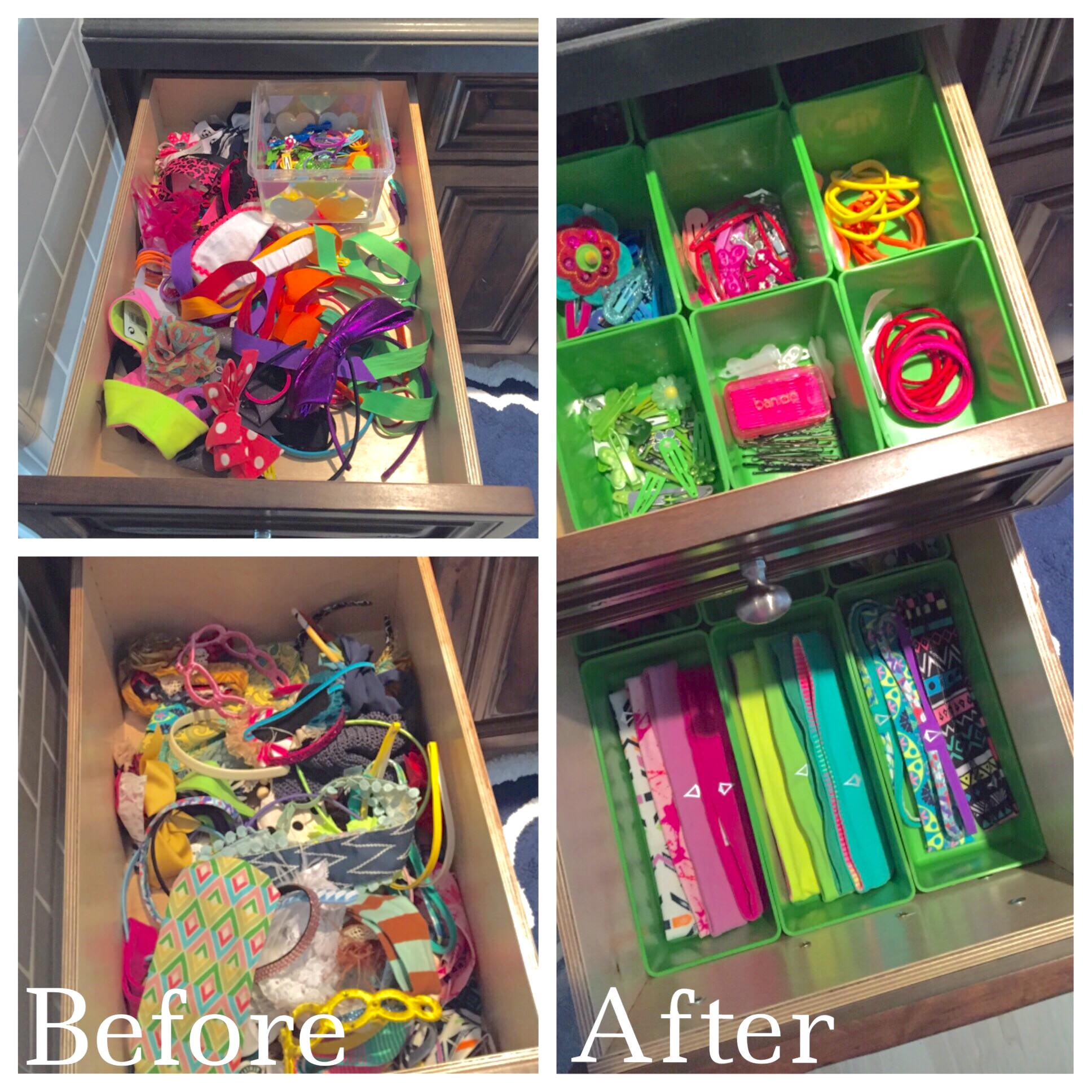 Mika Perry, Scottsdale, Phoenix, bathroom, organized, professional organizer, home organization, before and after, DIY, kids, hair accessories, head bands, bows, hair clips, home organization