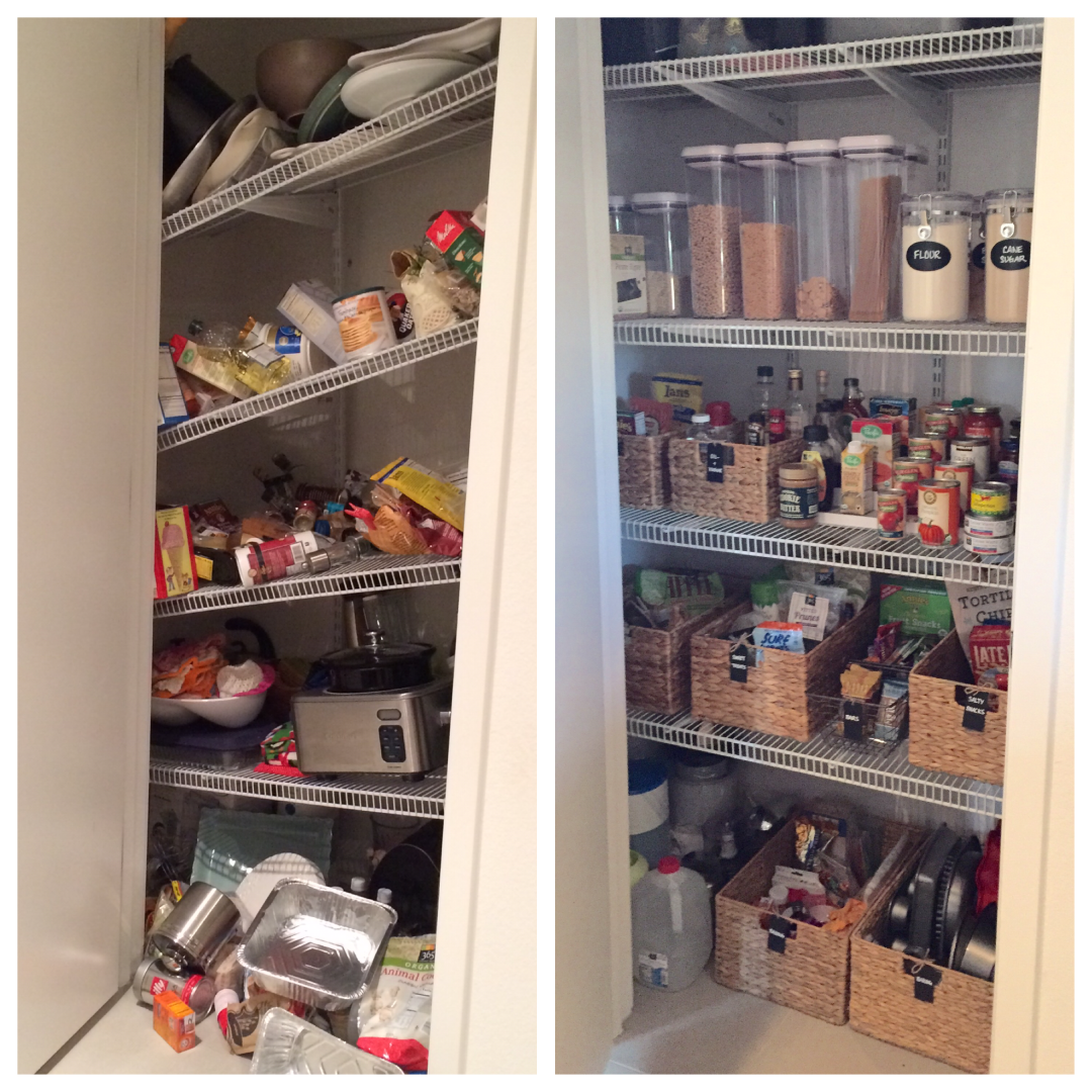 Mika Perry, Scottsdale, Phoenix, kitchen, pantry, organized, professional organizer, home organization, before and after, DIY, baskets, pantry tips, organizing tips