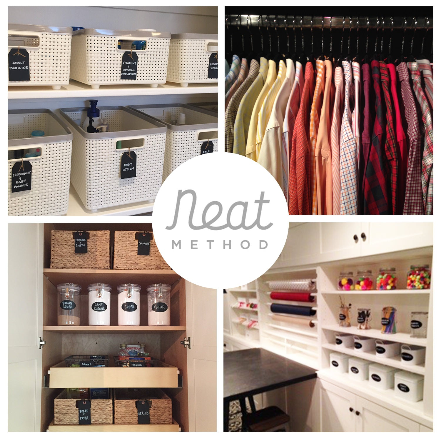 Organized pantry, organized linen closet, organized closet, organized craft room, NEAT Method