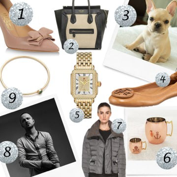 ferragamo shoes, celine bag, french bulldog, tory burch shoes, michelle watch, aaron paul, jennifer meyer, montcler jacket, copper mugs, girly gifts, gifts for mom