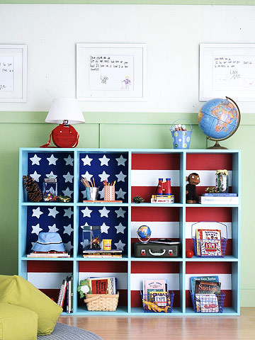 red white and blue, diy shelving, diy storage, ikea expedit, shelving unit, kids shelving, kids storage, patriotic, american, american flag, home organization