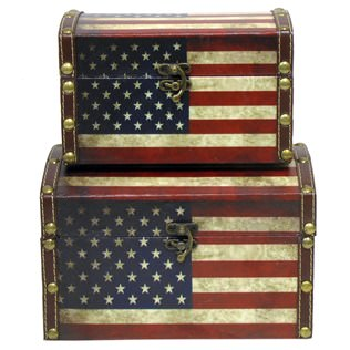 american flag, trunk, vintage trunk, cheap trunk, hobby lobby, home decor, home style, vintage storage,