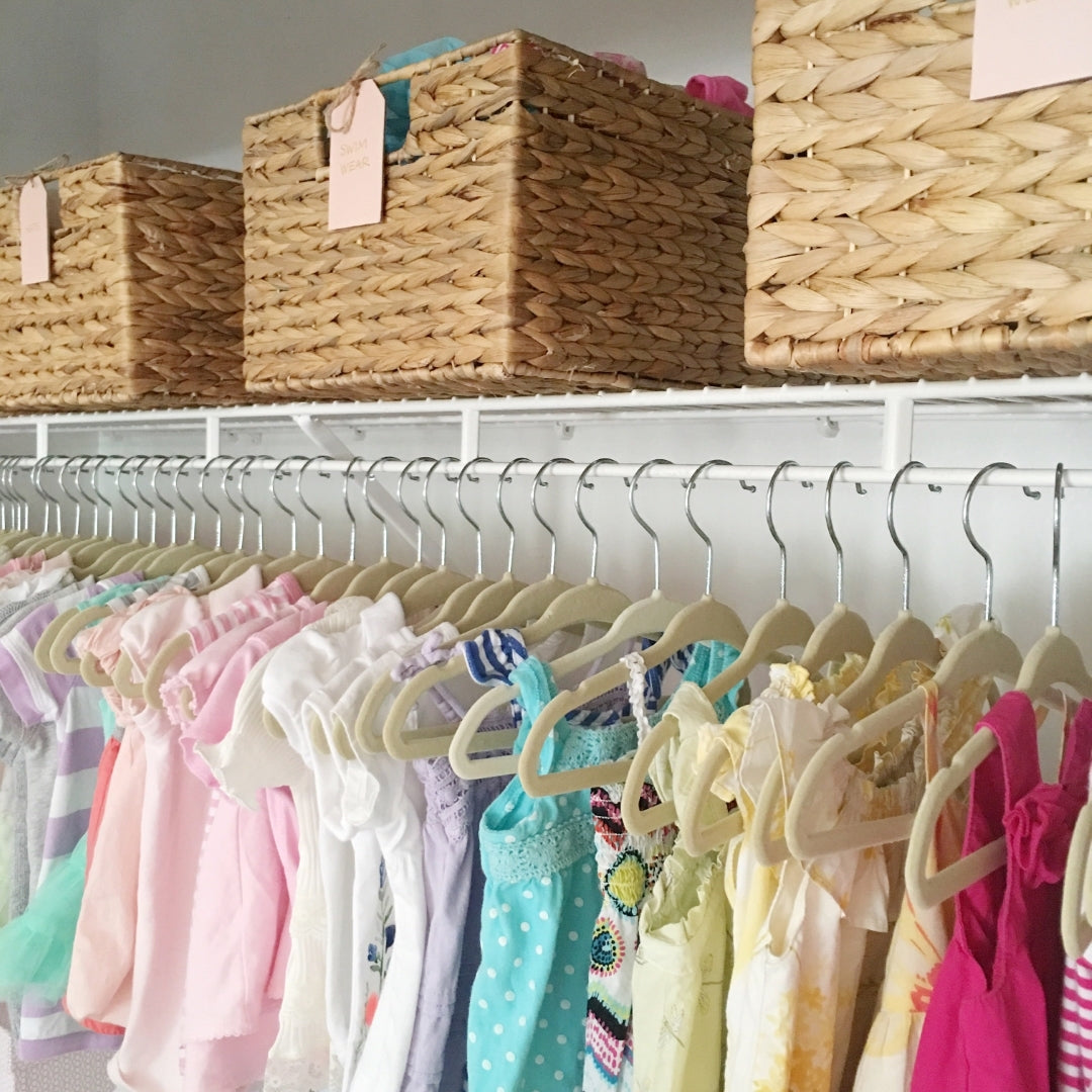 mika perry, organized nursery, little girls nursery, little girls room, pink nursery, nursery inspiration, design inspiration, closet ideas, playrooms, organized spaces