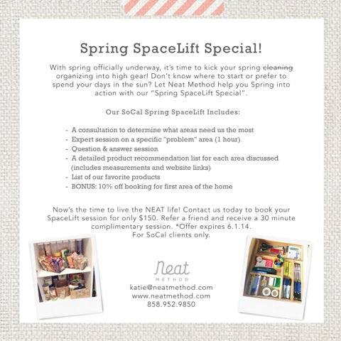 Organizing Specials, Katie Koentje, professional organizer, organizing deals, spring cleaning, cleaning inspiration, promo codes, San Diego, SoCal,