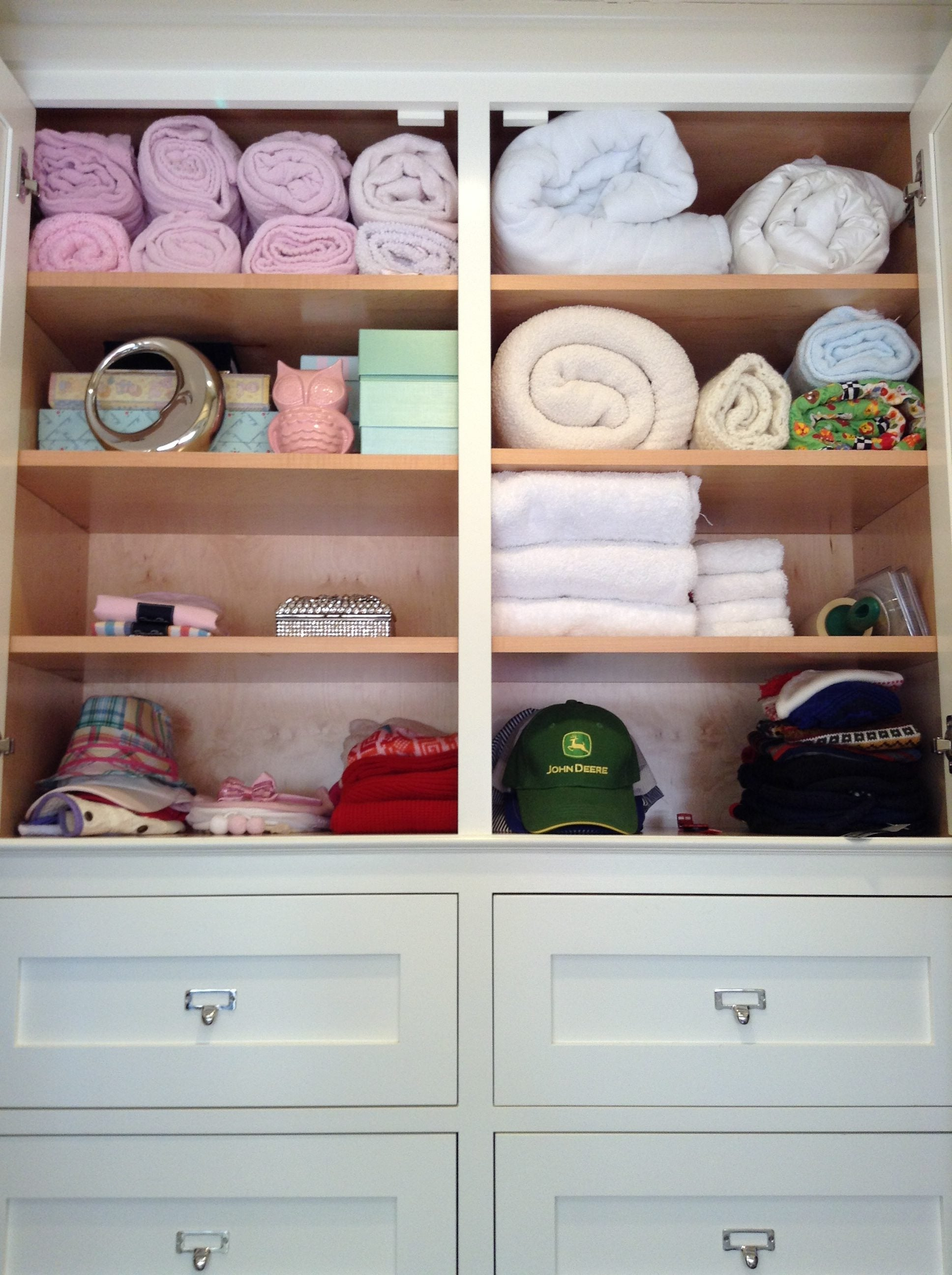 how to organize a kids closet, kids closet, childrens closet, brother and sister shared closet, brother and sister, siblings sharing, how to organize kids stuff, organize kids belongings, pink and blue closet, his and her closet, tips to organize for baby, how to organize baby, organized baby, closet, neat method