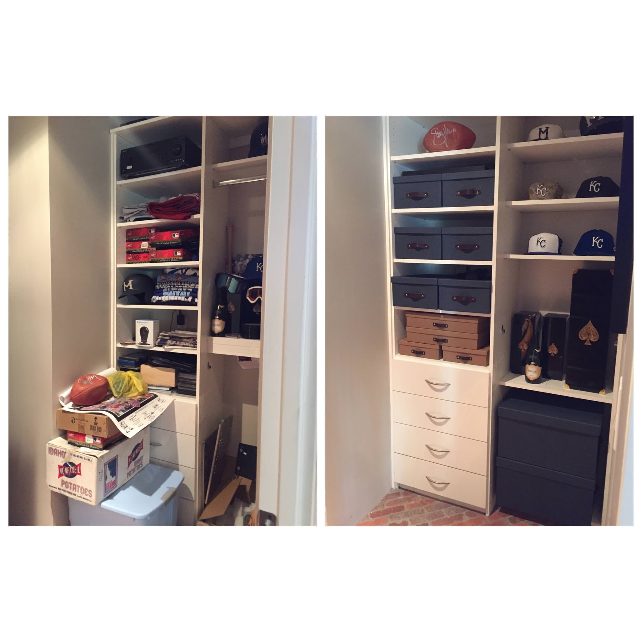 Mika Perry, Scottsdale, Phoenix, before and after, man closet, man cave, man's space, closet installation, closet with drawers,