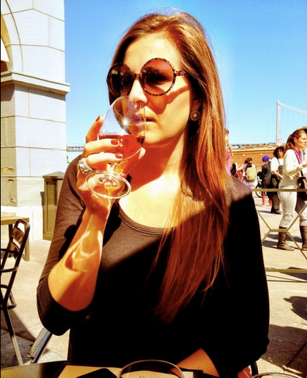 girl sipping wine, San Francisco