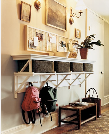 Martha Stewart Mudroom, mudroom, martha stewart, organized entry way, entry way, hooks, hooks for backpacks