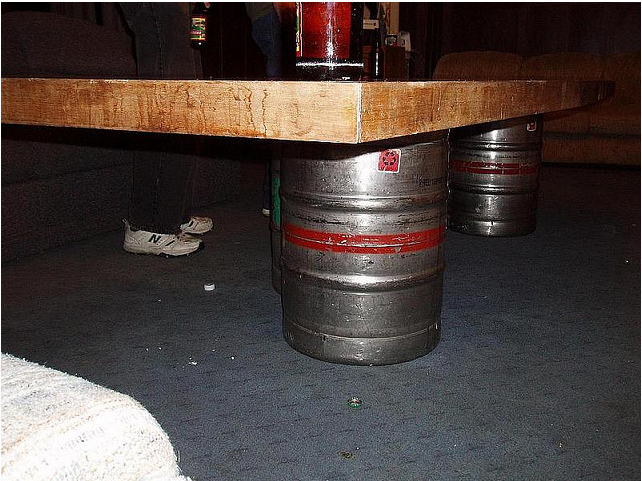 frat furniture, make shift furniture, keg, peer pong, frat life, frat, keg beer, keg table, beer table
