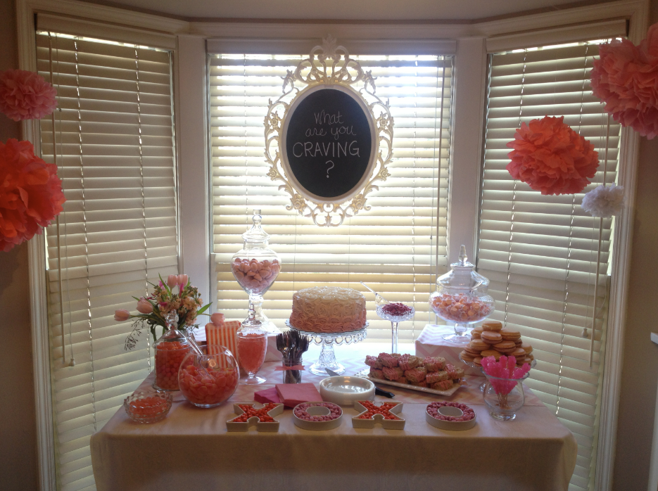 Organizers, home organizing, organizing, chicago, San Francisco, Washington DC, DC, Florida, South Florida, Candy table, party planning, event planning, DIY chalk sign, DIY tissue pom pom, Macarons, gummy bears, pretty flowers, chicago events, ombre cake, pink cake, baby girl