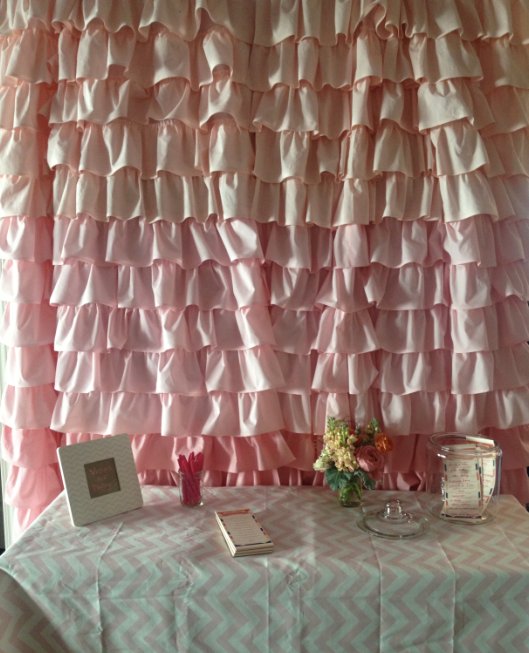 ombre curtain, pink curtains, ruffled curtain, baby girl, curtains, chevron frame, wishes for baby, chevron table cloth, baby pink, baby girl, organizing, organizers, NEAT Method, Chicago, San Francisco, Washington DC, DC, South Florida, Florida, theme party ideas, little girl party decorations