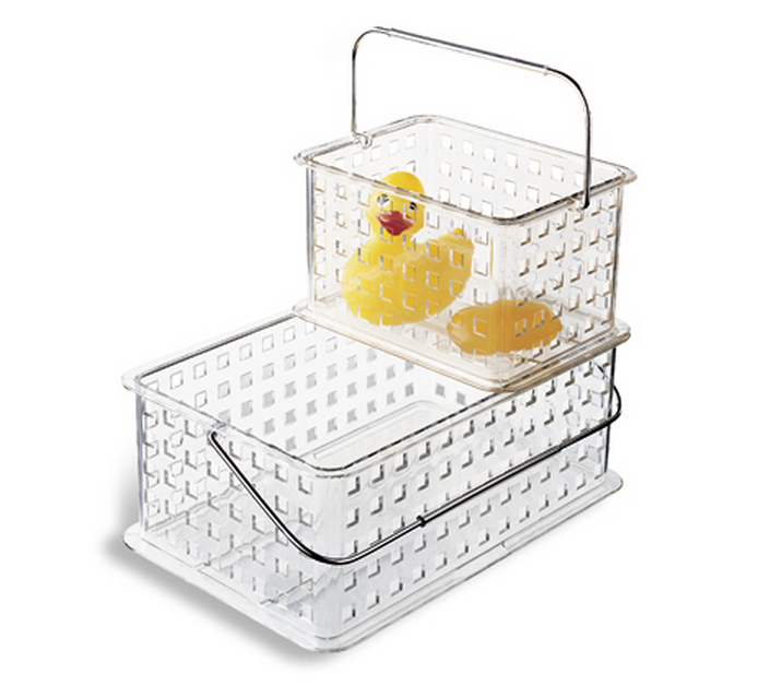 clear grid tote, container store, cleaning supply storage