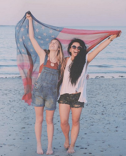 friends, memorial day, memorial day sales, american flag, girls on the beach, 4th of july, california beach, summer