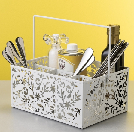 the organizing store, condiment caddy, caddy for condiments, art supplies caddy, white metal caddy, white metal organizer, floral white bin, metal bin,