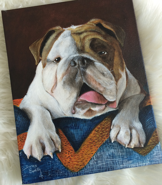 puppy, puppy painting, catherine zinn, neat dc, dc home organizers, professional organizers in dc, bull dog, bulldog puppy, bulldog painting