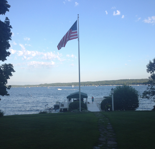 wisconsin, lake geneva, neat, neat method, lake life, american flag, dock, sunset on lake