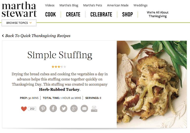 Martha Stewart, Thanksgiving, stuffing recipe, quick food, fast recipes, thanksgiving food, thanksgiving ideas
