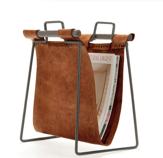 magazine holder, organizing website, products, home design, design, home style, leather magazine holder, professional organizers, interior design