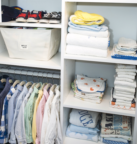 boys, boys closet. little boys room, organized closet, organizer, Lauren Combs, Michigan, Detroit, color coded, collared shirts, folding towels