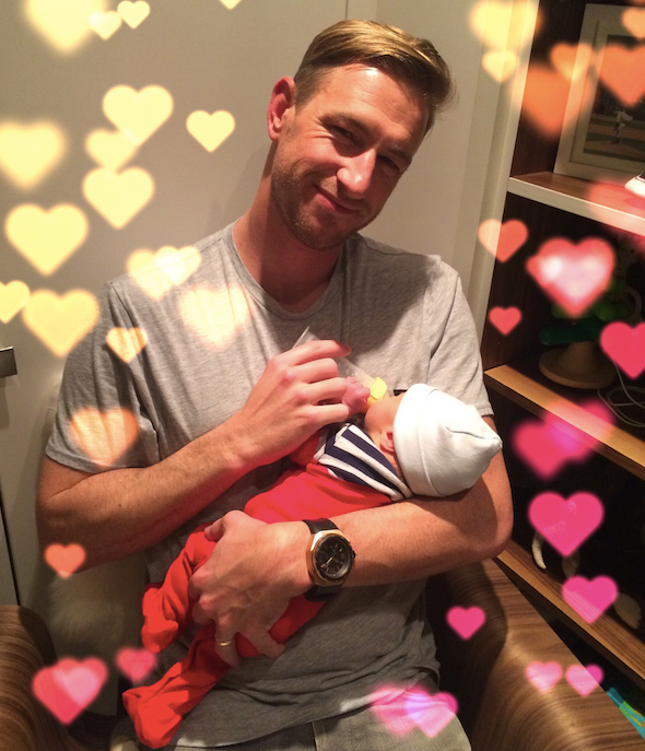 Ryan Graves, Molly Graves, Hudson Graves, father son, valentines day, bottle feeding, baby, infant, new born, professional organizer, NEAT, Uber