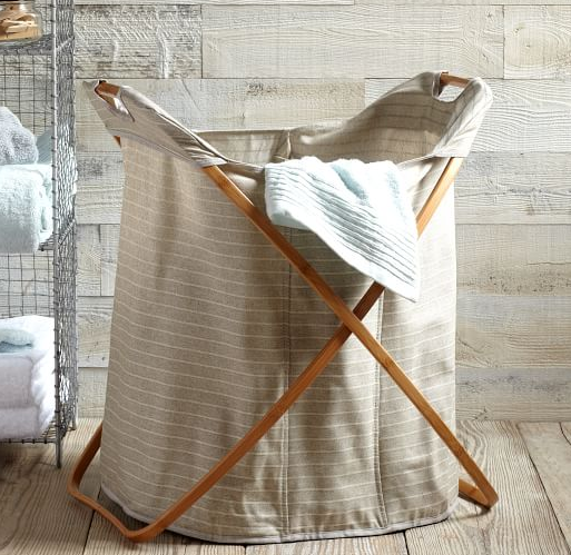 west elm, laundry bag, hamper, divided hamper, organized, professional organizer, home organizer