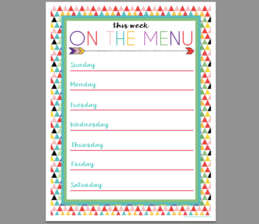 family menu, free printable, printable, menu planner, food planning, home organization, home style, home organizing, organizer