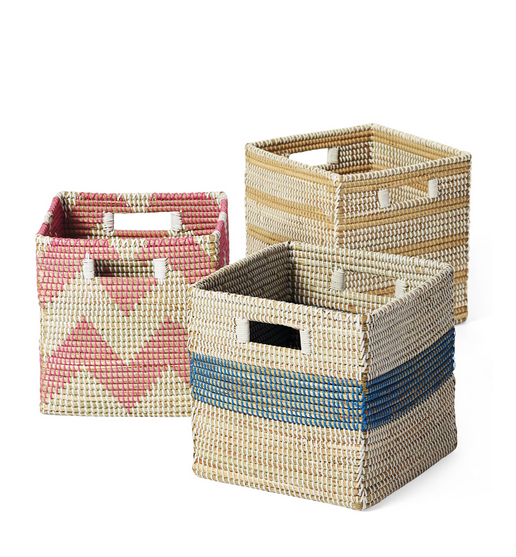Serena and Lily, baskets, cute baskets for kids, storage solutions, baskets for kids toys, kids storage, pink basket, blue basket, yellow basket