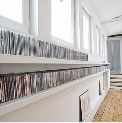 shelving, cds. movies, white house, organized room