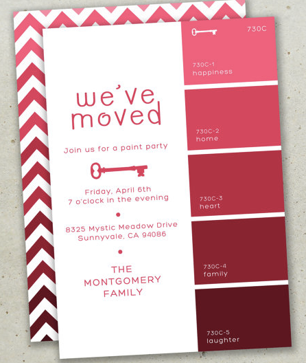 chevron cards, moving cards, we've moved, moving tips