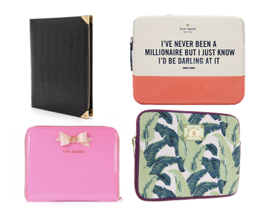 Alexander Wang Prisma iPad clutch, Kate Spade Millionare Quote iPad Sleeve, Ted Baker Bow Tablet Case, Juicy Couture Palm Leaf Tablet Case, ipad case, ipadmini case, e-reader case, tablet case, cute ipad case