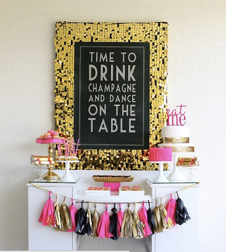 time to drink champagne and dance on the table, pink gold and black party decor, party, glitter party, how to organize a party