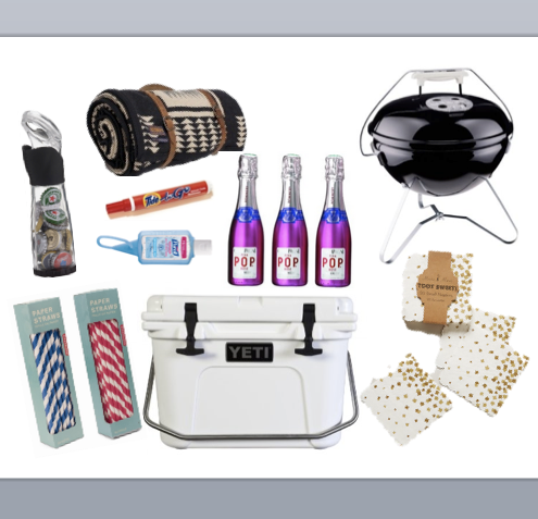 tailgate ideas, pendelton blanket, blanket carrier, weber grill, mini grill, tailgating grill, bottle opener, bottle opener and cap collector, paper straws, party straws, yeti cooler, cooler, best cooler, party napkins, anthropologie napkins, gold napkins, polka dot napkins, pop champagne, mini champagne, mini champagne bottles, pink champagne bottles, wedding champagne bottles, tide to go stick, tide, purell, mini purell, travel purell